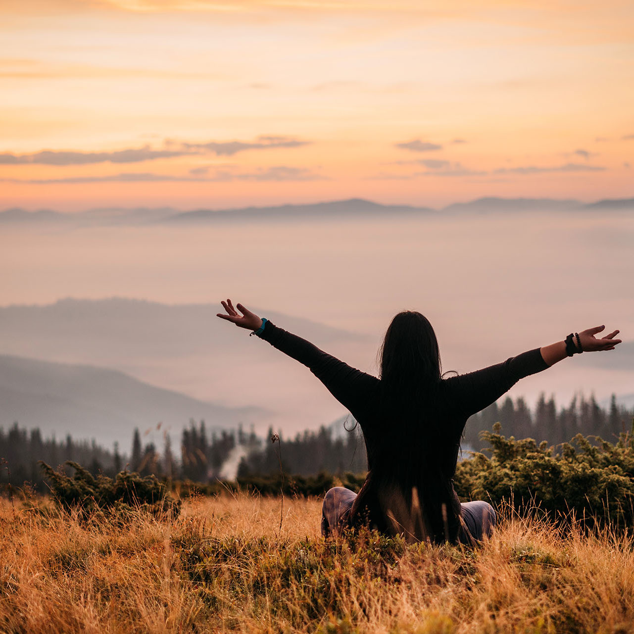 Yoga woman sitting on top of a mountain at sunrise. Mountains in the fog. The view from the back. arms around. Meditation. The balance of psychological life. Appeasement. Peace and joy in the soul